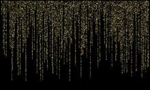 Garland Lights Gold Glitter Hanging Vertical Lines Vector Holiday Background.