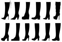 Set Of Different Boots Isolated On White