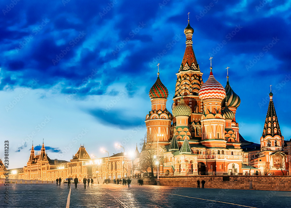 Fototapety, obrazy: St. Basil's Cathedral night view in Moscow . Russia