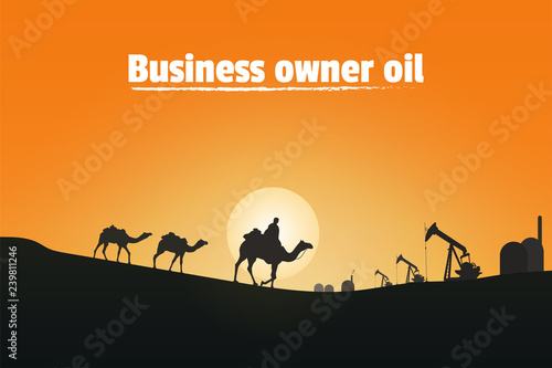 Canvas Prints Red Business owner oil, Silhouette of camel riders in the desert