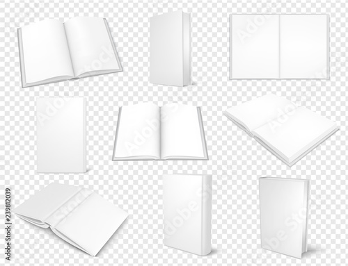 Fotografering  Set of mockup books close and open, template for design.