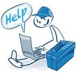 Strichmännchen als Handwerker mit Werkzeugkoffer, Laptop und Hilfe