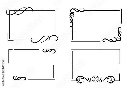 Photo Set of vintage frames with scrolls element.