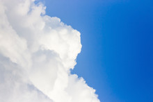 Blue Sky Background. Beautiful Sky With White Clouds