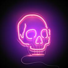 Neon Sign. Retro Neon Skull Signboard On Purple Background. Design Element. Ready For Your Design. Vector Illustration.
