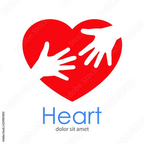 Logotipo abstracto con texto Heart con corazón con dos manos en espacio negativo Canvas Print