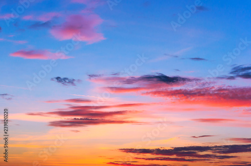 Foto op Aluminium Lilac lilac blue sky at sunset, pink and blue sky at dawn