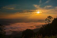 Sunrise And Mountain Mist At Doi Samer Dao Sri Nan National Park Thailand