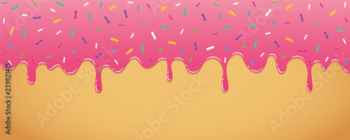 pink sweet melting icing with colorful sprinkles vector illustration EPS10 Fototapete