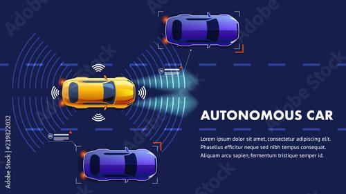 Autonomus Car Illustration. Vector Landing Page.