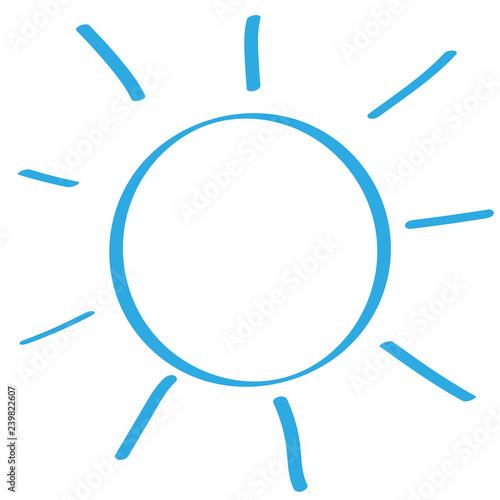 Fotografie, Obraz  Handgezeichnete Sonne in blau