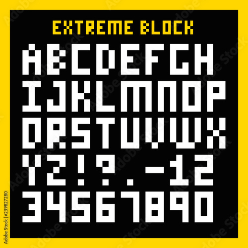 Extreme Block Font - Heavily pixelated type face, similar to