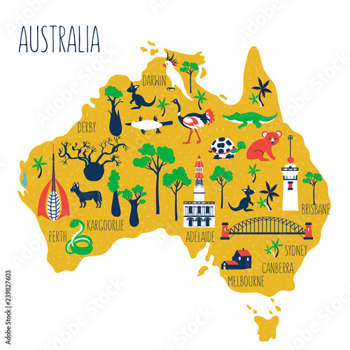 Perth In Australia Map.Australia Cartoon Travel Map Vector Illustration Landmark Perth