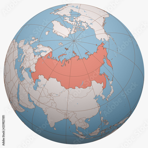 Russia on the globe. Earth hemisphere centered at the ...
