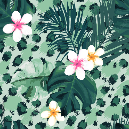 obraz PCV Tropical seamless pattern. Leopard print. Animal background. Vector illustration
