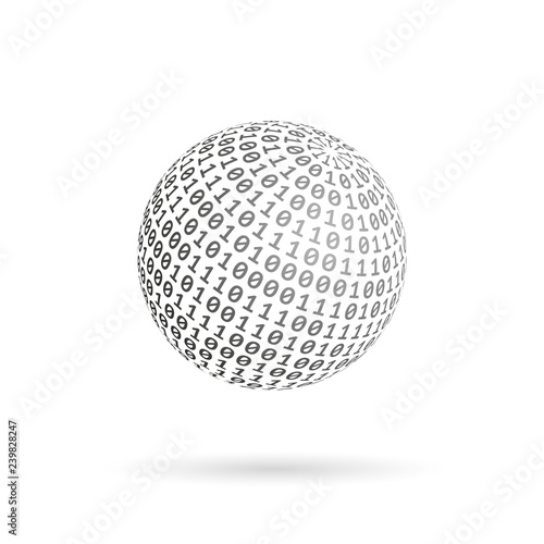 Fotografia Globe of binary code. Abstract technology ball. Vector design