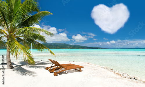 Fotomural romantic getaway concept - tropical beach with palm tree, two sunbeds and heart