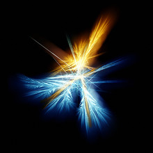 Abstract Blue And Yellow Fractal On Black Background