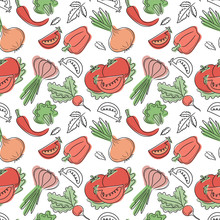 Vegetables Seamless Pattern. H...