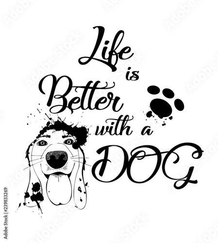 life-is-better-with-a-dog-czarny-napis-i-pies-z-dlugimi-uszami