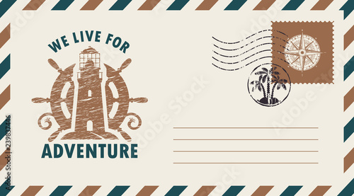 Fotografía Postal envelope with postage stamp and postmark in retro style