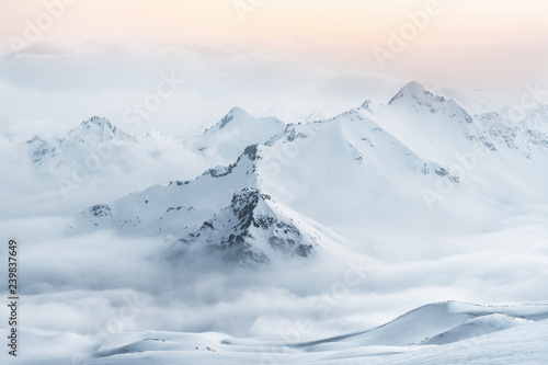 Snow covered mountain peaks of the Caucasus