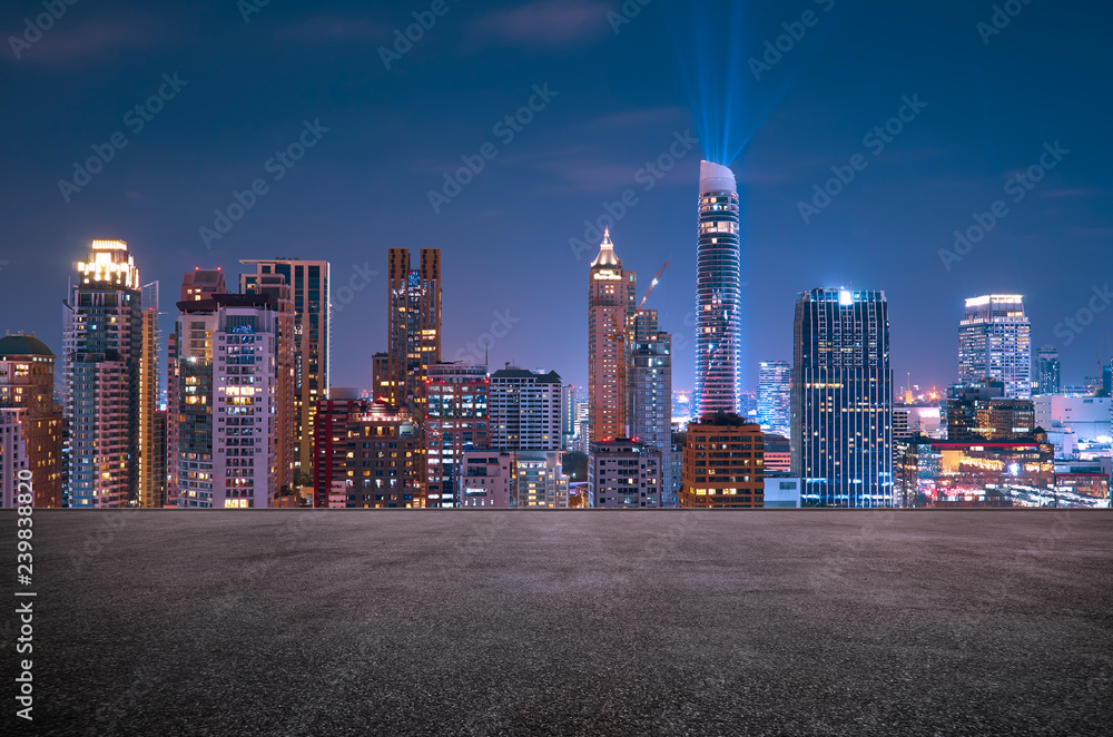 Fototapety, obrazy: Bangkok urban cityscape skyline night scene with empty asphalt floor on front