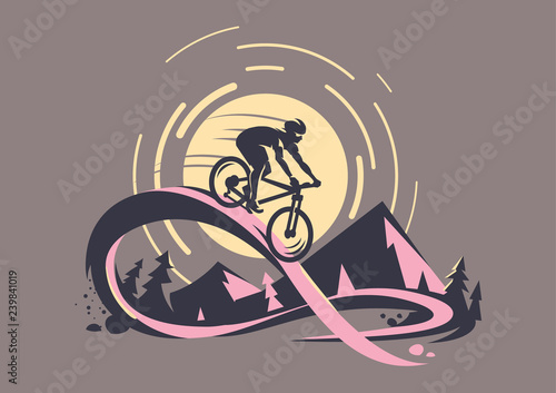 Aluminium Prints Dark grey Trail ride tour. Mountain bike emblem