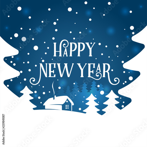 Fototapeta Happy New Year background. Vector illustration. Happy New Year text design. Vector greeting Typographical illustration with winter landscape, snowflakes, light, house.  obraz na płótnie