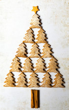 Christmas Tree Made With Gingerbread Cookies.