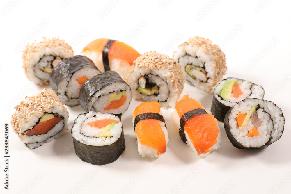 Fototapety, obrazy: selection of sushi and maki