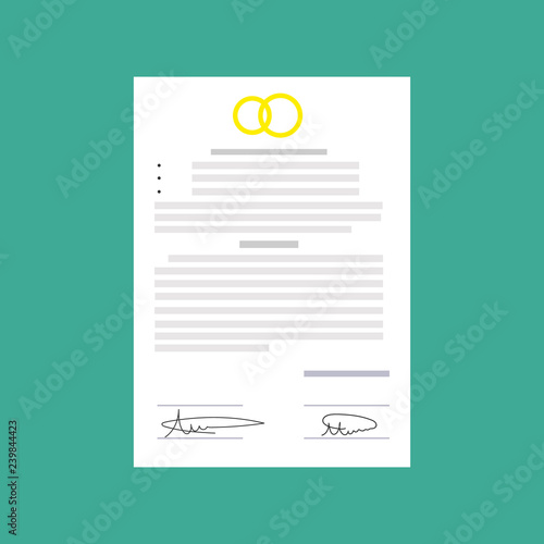 Fototapety, obrazy: Prenuptial agreement in man and woman hands. Family and law concept