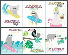 Set Of Fun Aloha Baby Posters With Cartoon Animals For Baby Shower Or Birthday Party. Editable Vector Illustration