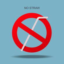 No Plastic Straw Vector Illustration.