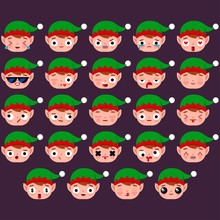 Set Of Cute Santa Elf Emoji Co...