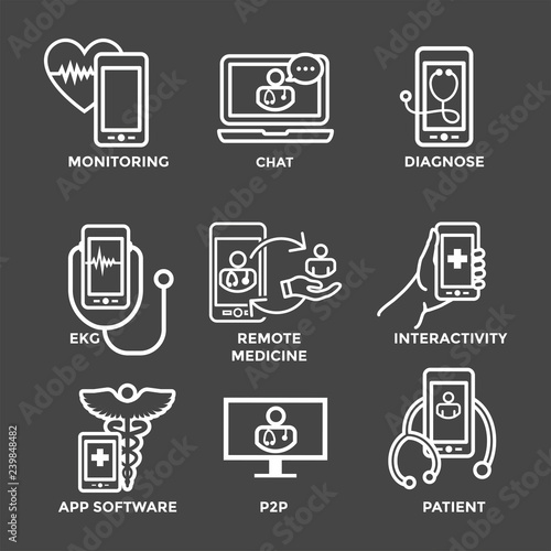 Telemedicine abstract idea with icons illustrating remote health and software Fototapeta