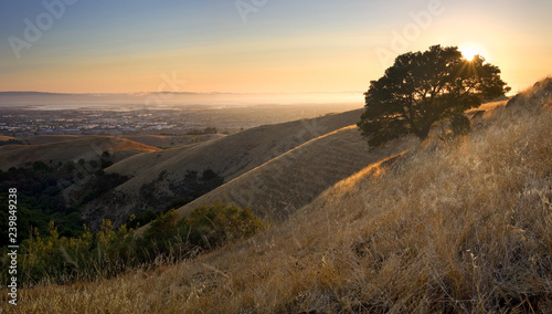 Mountaintop view of East Bay and San Francisco Bay in summer, California Fototapeta