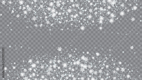 Fototapeta Flying snow background. Card or banner with flakes confetti scatter frame, snow elements. Holiday Christmas card design. Transparent base. obraz na płótnie
