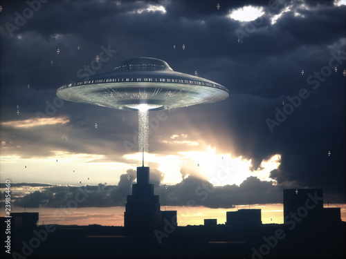 Alien spacecraft flying over building at sunset. Image concept of alien invasion.