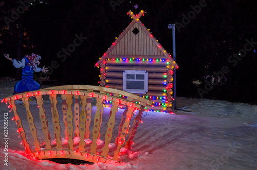 Fotografía  House decorated with lights in the street
