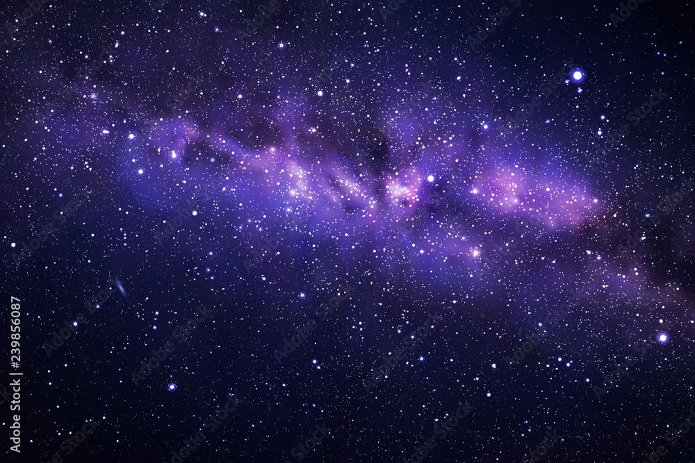 Fototapety, obrazy: Vector illustration with night starry sky and Milky Way. Space dark background with fragment of our galaxy