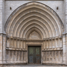 Portal Of The Apostles Of The Cathedral Of Saint Mary Of Girona, Catalonia.