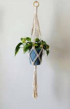 A Hand-made Macrame Plant Hanger Made Of 100% Cotton, Holding A Blue Ceramic Pot With A Brazil Philodendron Plant. A Wooden Ring Is Used To Hang.