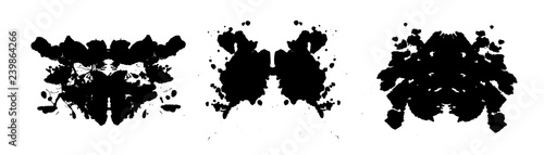Rorschach inkblot test illustration, symmetrical abstract ink stains Wallpaper Mural