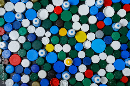 Collection of various colorful plastic screw caps #239865479