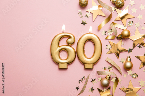Number 60 gold celebration candle on star and glitter background Tableau sur Toile