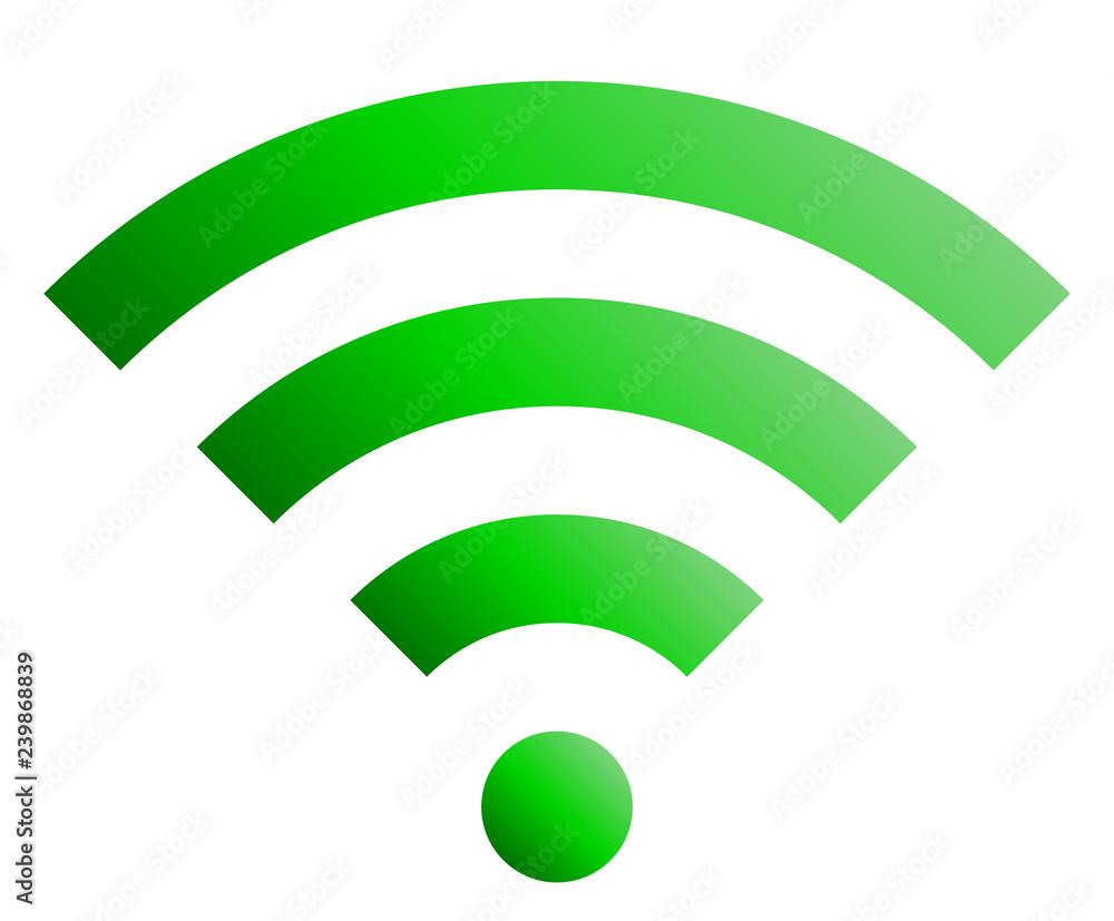 Fototapeta Wifi symbol icon - green simple gradient, isolated - vector