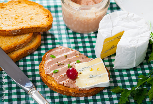Toast with pate and soft blue cheese