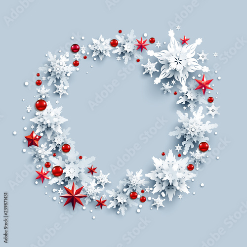 Fotobehang - Stars and snow wreath