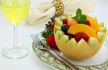 Fancy Cut Melon With Assorted Fruit Inside